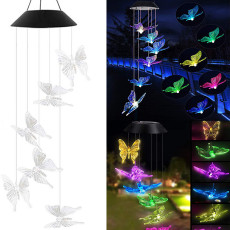 Butterfly Solar Powered LED Wind Chime, Color Changing Wind chime, Light for Home Patio Yard Garden