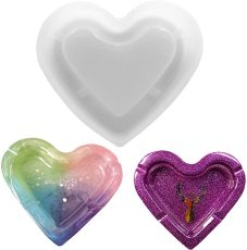 Heart Shape Ashtray Silicone Resin Casting Mold, Epoxy DIY Casting Mold for Craft Art, Crystal Epoxy Ashtray Mold