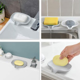 Silicone Soap Dish with Drain, Bar Soap Holder Self Draining Waterfall Soap Tray, Easy Cleaning Dry Soap Tray