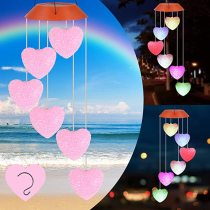 Loving Heart Wind Chimes, Solar Wind Chimes Outdoor, Waterproof Romantic Chimes LED Solar Powered Wind Chimes