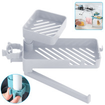 Kitchen Double Layer Plastic Faucet Rack, Rotating Frame Drain Storage Box, 3 in 1 Sink Sponge Holder Drain Rack