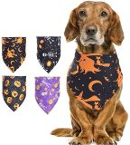 4 pcs Halloween Dog Bandanas, Washable Pet Kerchief Scarf Set, Pet Triangle Bibs Scarf Accessories for Holiday Festivals
