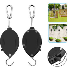2 PCS Retractable Plant Pulley, Adjustable Plant Hanger Hook, Pull Down Hanger Hook for Potted Plants