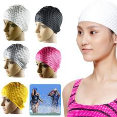 Silicone Swimming Cap Adult, Waterproof Silica Gel Drip Bathing Cap, Unisex Flexible Adult Whaterdrop Swim Cap Protect Ears