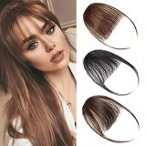Clip In Hair Bangs Hairpiece, Synthetic Fake Bangs Hair Piece, Clip on Bangs Dark Brown Thin Hair for Women