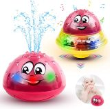 2 in 1 Baby Bath Toys, Whale Water Spray Bathtub Toys with LED Light & Music, Waterproof Space UFO Car Toys