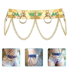 Punk Waist Chain Belt, Dazzle Color Holographic Silver Metal Punk Chain, Body Chains for Nightclub Party