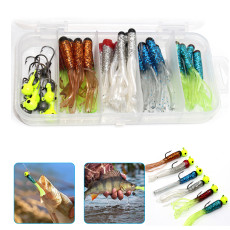 40 pcs Soft Fishing Lures, Original Tube Baits for Bass & Jig Heads, Artificial Lure Baits for Salt & Freshwater