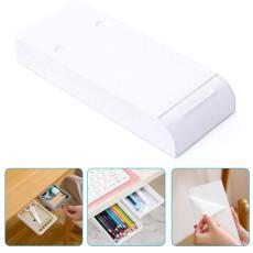 Self-Adhesive Under Desk Drawer, Hidden Pencil Tray Drawer, Under Desk Holder Storage Box for Office Home School