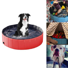 Foldable Dog Swimming Pool, PVC Collapsible Pet Bath Swimming Tub, Bathing Tub for Dogs Cats and Kids
