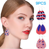 american flag faux leather earrings- wtowin.com