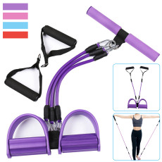 3-Tube Foot Pedal Resistance Band, Elastic Sit-Up Pull Rope for Gym Sport Fitness, Abdominal Leg Exerciser