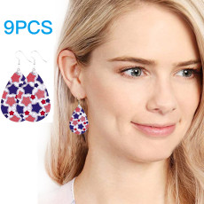 9 Pairs Independence Day Leather Earrings, American Flag Teardrop Dangle Earrings, Lightweight Faux Leather