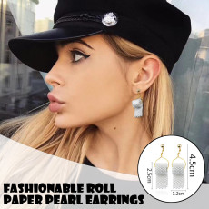 Funny Toilet Paper Earrings, Pearl Roll Paper White Pendant Earring, Creative Jewelry Novelty Dangles