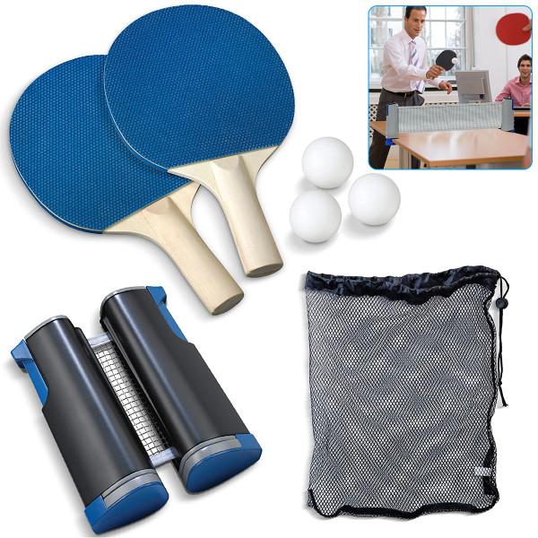 Ping Pong Set, Portable Table Tennis Set with Retractable Net,  2 Paddles and 3 Balls and Drawstring Bag