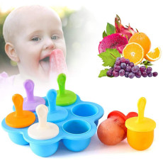 Silicone Popsicle Molds, Mini 7-cavity Ice Pop Molds, Food Grade DIY Pop Molds as Baby Food Freezer Trays