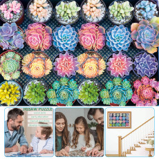 Succulent Plants Puzzle 1000 Pieces, Jigsaw Puzzle Interesting Toy for Children, Handmade Puzzles Adults