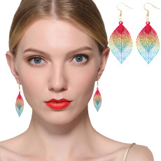 Colorful Double Bohemian Long Earrings, Hollow Leaf Shape Drop Earrings, Jewelry Gift Drop & Dangle