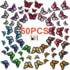 60 pcs Butterfly Iron on Patches, 2 Size Embroidered Patch Sew On, Patches for Clothing, Backpacks