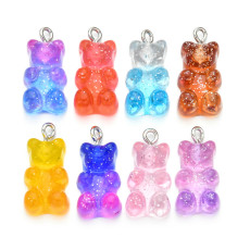 10 pcs Gradient Candy Gummy Charms Bear Pendant, DIY Necklace for Children, 8 colors Pendants