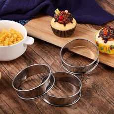 3 pcs Muffin Tart Rings, Double Rolled Tart Ring Stainless Steel, Metal Round Ring Mold for Cooking 3.15 Inch