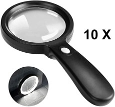 Magnifying Glass with Light, 10X Handheld Magnifying Glass, 12 LED Illuminated Lighted Magnifier