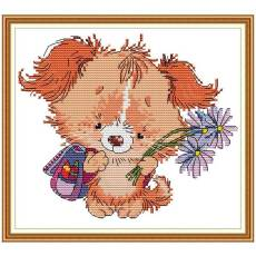 A dog with flower Cross Stitch Kits, Printed Cross Stitch Set, Embroidery Starter Kits for Beginners DIY 11ct/14ct