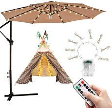 Patio Umbrella Lights, String Lights 8 Brightness Modes 104 LEDs, Outdoor Lights Battery Operated