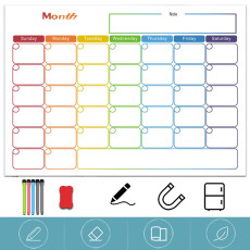 Magnetic Dry Erase Refrigerator Calendar, Monthly Calender and Today List, Fridge Whiteboard Set
