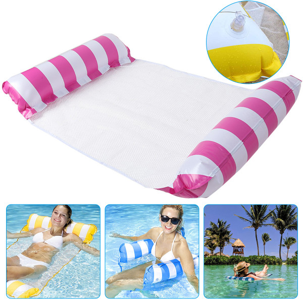 4-in-1 Multi-Purpose Water Hammock, Inflatable Swimming Pool Float Chair, Portable Water Lounger