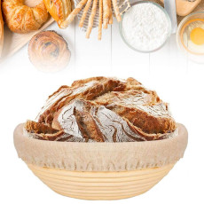 Banneton Proofing Basket, 9 Inch Round Bread Proofing Basket, Rattan Proving Bowl with Linen Liner