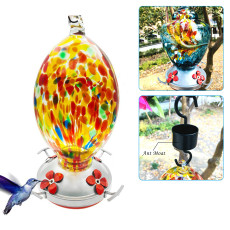 Glass Hummingbird Feeder, Bird Feeder with Perch for Outdoors, Hand-blown Glass Hanging Feeding