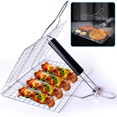 Stainless Steel Grill Basket, Fish Grill Non-stick Foldable Nets, Foldable BBQ Grill Mat with Handle