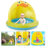Inflatable Baby Pool, Duck Shape Baby Splash Pool with Canopy, Spray Water Fun Summer Baby Pool