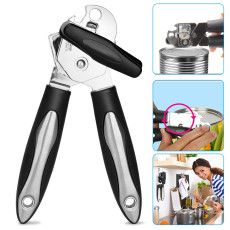 Can Opener Manual, 3-in-1 Can Opener Stainless Steel, Multifunctional Jar opener with Anti Slip Handle