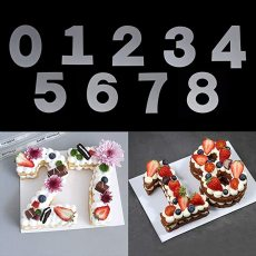 0-8 Numbers Cake Mold, PVC Number Cake Mold, Numerical Stencils for DIY Numbers Cakes/Cookies