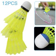 Pack of 12 Nylon Shuttlecocks, Hight Speed Training Badminton Ball, Durable Badminton Birdies Yellow