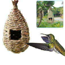 Hand Woven Hummingbird House, Outside Grass Hanging Bird Hut, Outdoor Eco-friendly Bird Cages
