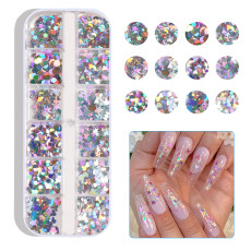 12 Grid/Set Holographic Nail Glitter Sequins, Sparkly 3D Nail Sequins Flakes Polish Decor, Nail Art Decor