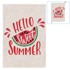 Summer Theme Double Sided Burlap Garden Flag, Outdoor Decorative Flags, Garden Flags for Yard