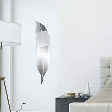 Self Adhesive 3D Feather Mirror Wall Decal, Acrylic Mirror Stickers for Wall, DIY Mirror Decorative Sticker