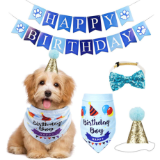 Dog Birthday Party Decor, Dog Scarf Hat Collar Banner for DIY Pet Party Supplies, Dog Birthday Bandana