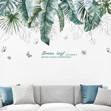 Green Leaves Wall Stickers, DIY Vinyl Wall Decals for Livingroom, Mural Art for Sofa Background PVC Decorations