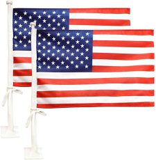 Car Flag with Flagpole Mount, American Flag 17  x 11  Double Side, Car Window Clip on USA Flag (2 Pack)