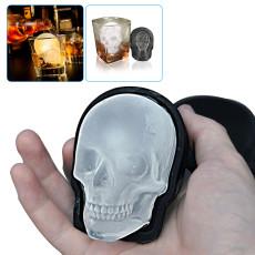 Large 3D Skull Ice Mold, Silicone Skull Ice Cube Molds, Black Skull Ice Maker for Whiskey, Bourbon, Beer