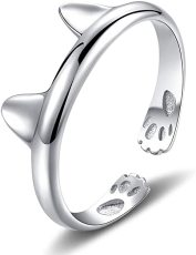 Cute Cat Design Opening Finger Ring, Simple Cat Ears Silver Color Ring, Fashion Women's Cat Ring