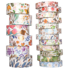 18Rolls/Set Flower Gold Foil Washi Tape, DIY Scrapbooking Adhesive Masking Tape, 7.5mm/15mm Decorative Tape