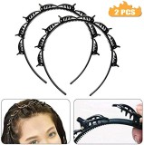 2 pcs Double Layer Twist Plait Headband Hair Tools, Double Bangs Hairstyle Hairpin, Punk Gothic Black Hair Styling Twist Clip