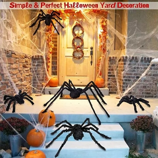 Large Halloween Spider Decorations, Realistic Hairy Spider Props for Halloween, Black Giant Scary Fuzzy Spiders