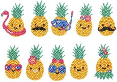 5D DIY Diamond Painting Kits for Kids, Mosaic Stickers Paint with Diamonds Kits, Pineapple Man in Summer